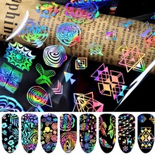 8Pot/set Laser Nails Transfer Foil Wraps Stickers Nail Art Decorations Manicure Declas For Nails Accessories