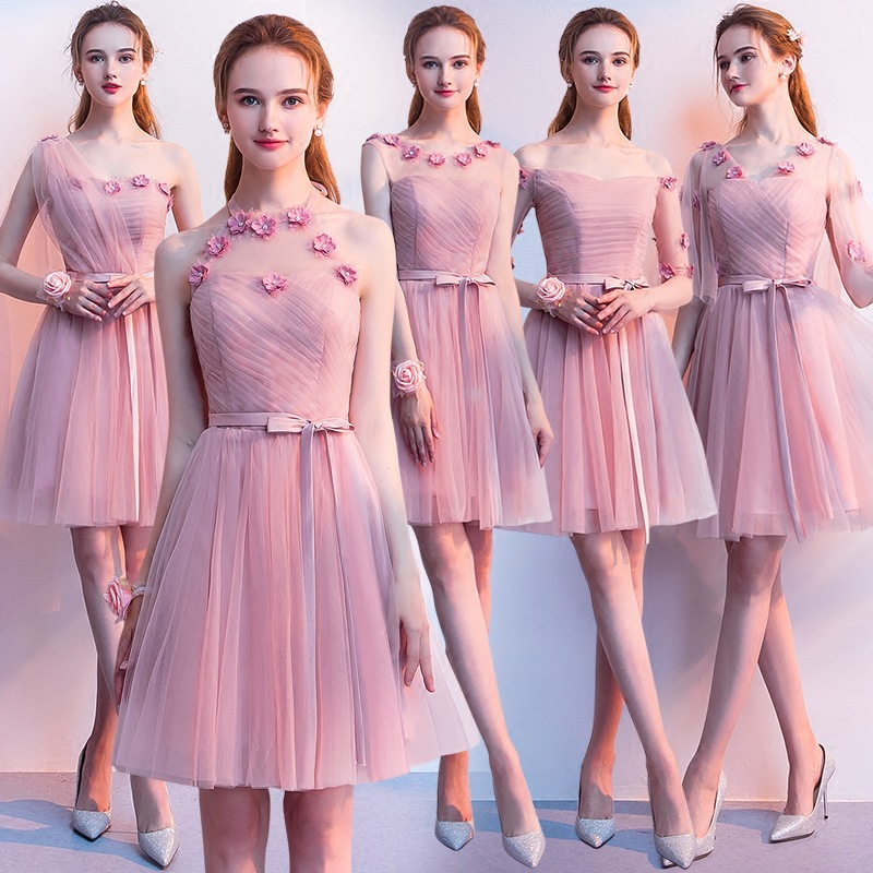 Beauty Emily Elegant Boat Neck   Bridesmaid     Dresses   Short Vestido Madrinha 2019 Charming Dust Pink Wedding   Dress   with Appliques