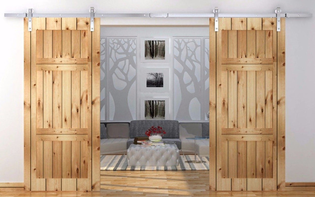 Buy 8ft 10ft 12ft Stainless Steel Top Mounted Double Sliding Barn Wood Door