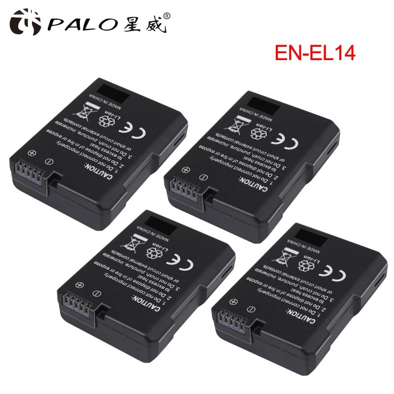 4pc. EN-EL14 EN-EL14a ENEL14 EL14 1200 mAh batterie pour Nikon D5600, P7700, P7100, D3400, D5500, D5300, D5200, D3200, D3300, D5100, D3100, Df.