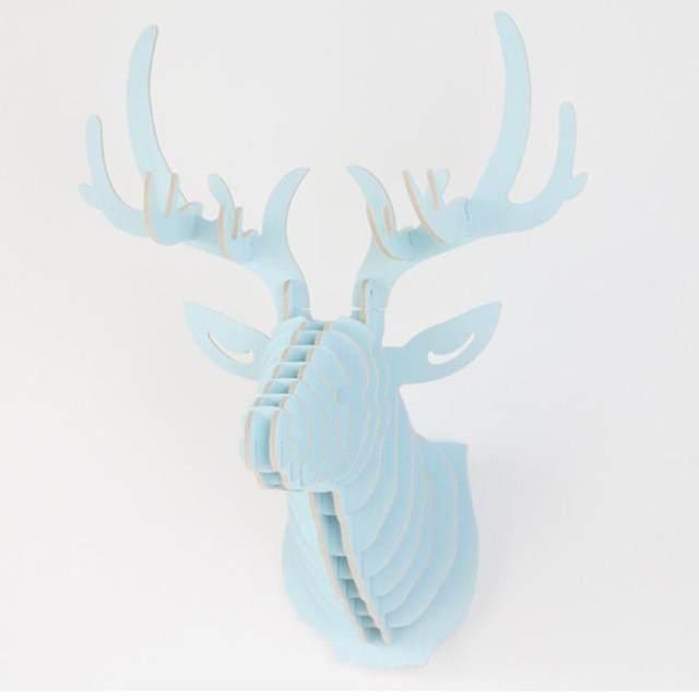 Nature 3D Wooden Elk Deer Head Wall Decor DIY Animal Wildlife Sculpture  Figurines Gift Crafts Hanging Puzzle Model Decoration 35