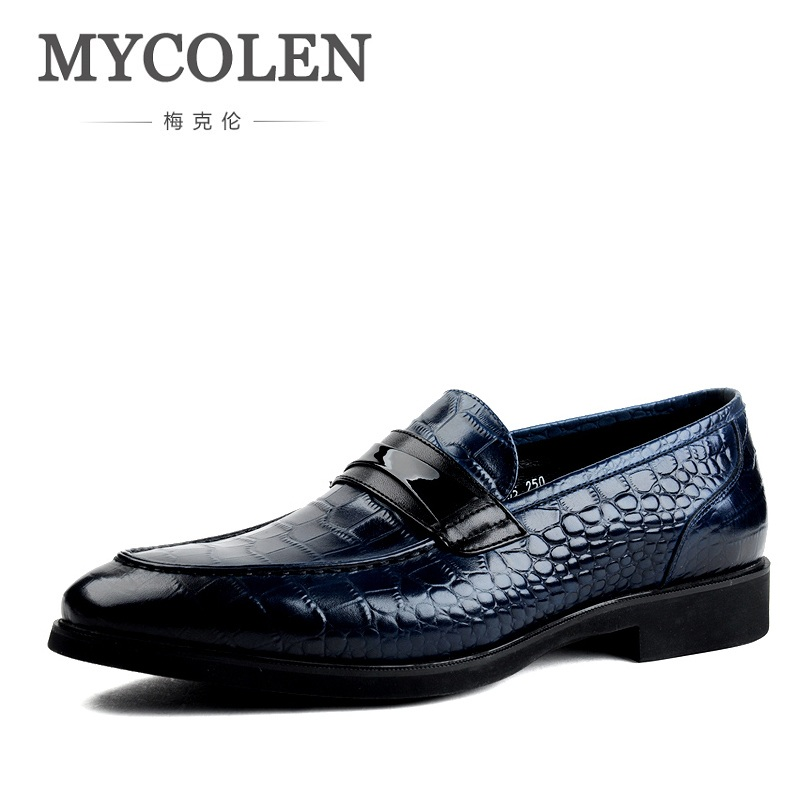 MYCOLEN Men Dress Shoes Italian Leather Slip On Fashion Shoes Men Leather Moccasin Formal Male Shoes Chaussure Homme Cuir branded men s penny loafes casual men s full grain leather emboss crocodile boat shoes slip on breathable moccasin driving shoes