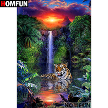 HOMFUN Full Square/Round Drill 5D DIY Diamond Painting Forest Tiger Embroidery Cross Stitch Home Decor Gift A07065