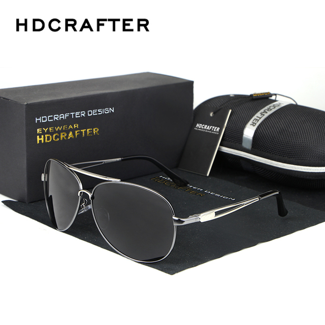 HDCRAFTER Brand Retro Metal Sunglasses Polarized Lens Pilot Sun Glasses Hollow Frame Eyewear Accessories For Men