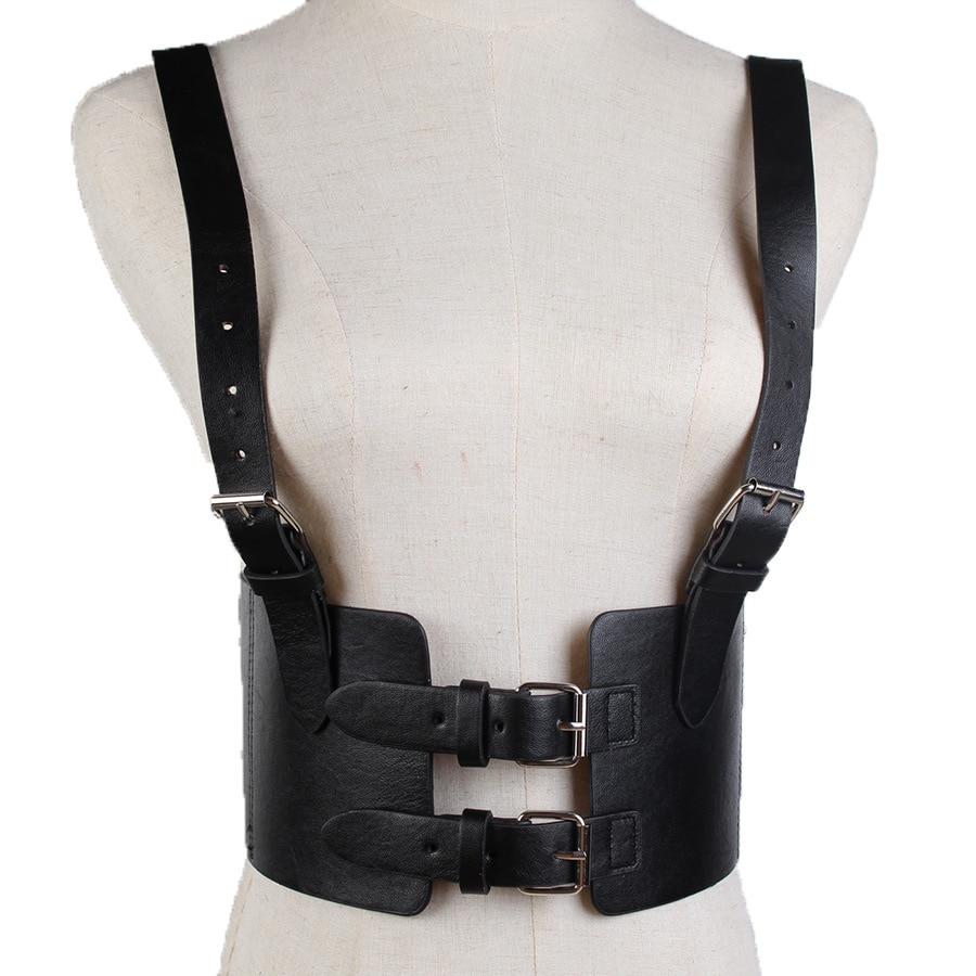 Steampunk Women's Strap Harness Vintage Waist Cincher with Straps Wide Corset Belt