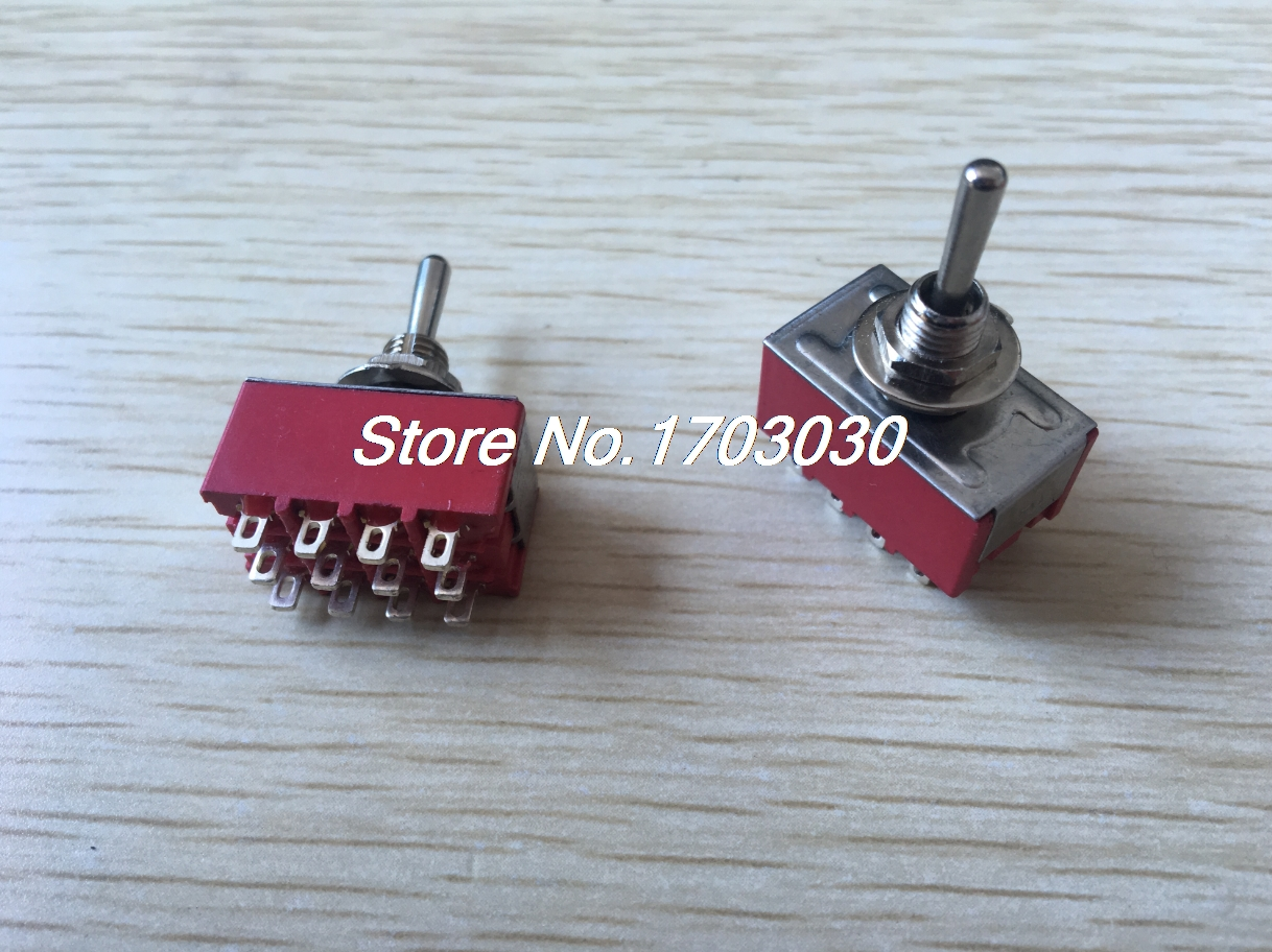 2pcs AC 250V 2A 125V 6A ON/OFF/ON 3 Position 4P2T 4PDT 12 Pins Toggle Switch