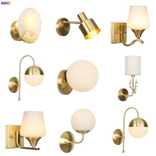 IWHD Nordic Modern Copper Wall Lamp LED Bedroom Bathroom Mirror Light Vintage Glass Ball Wall Lights Fixtures Sconce Wandlamp