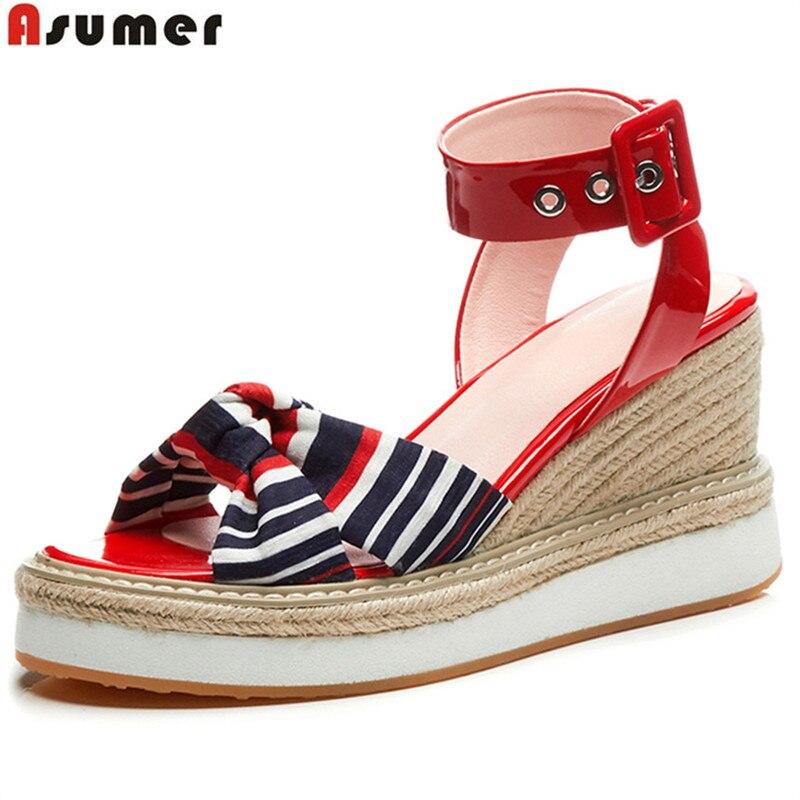 Asumer Shoes Sandals Buckle Platform Genuine-Leather Fashion Woman Elegant Wedges
