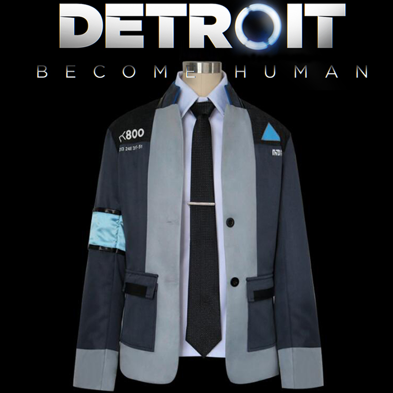 Detroit: Become Human Connor Cosplay Costume Jacket RK800 Suit Tight Unifrom Coat Halloween Party Clothes