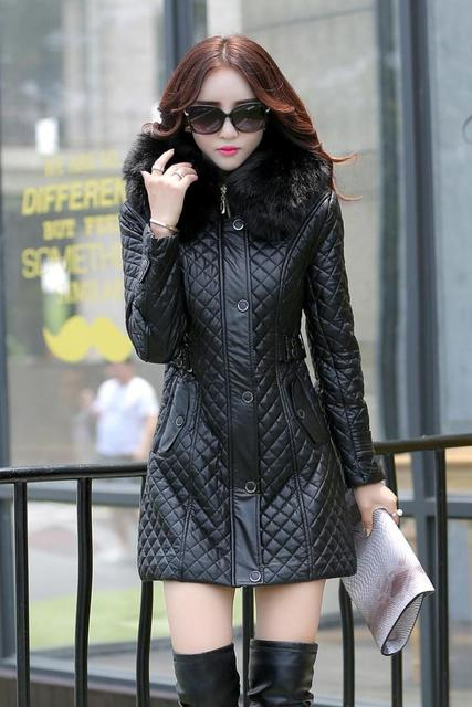 autumn and winter PU water washed leather clothing female medium-long plus size female slim trench outerwear plus cotton 5