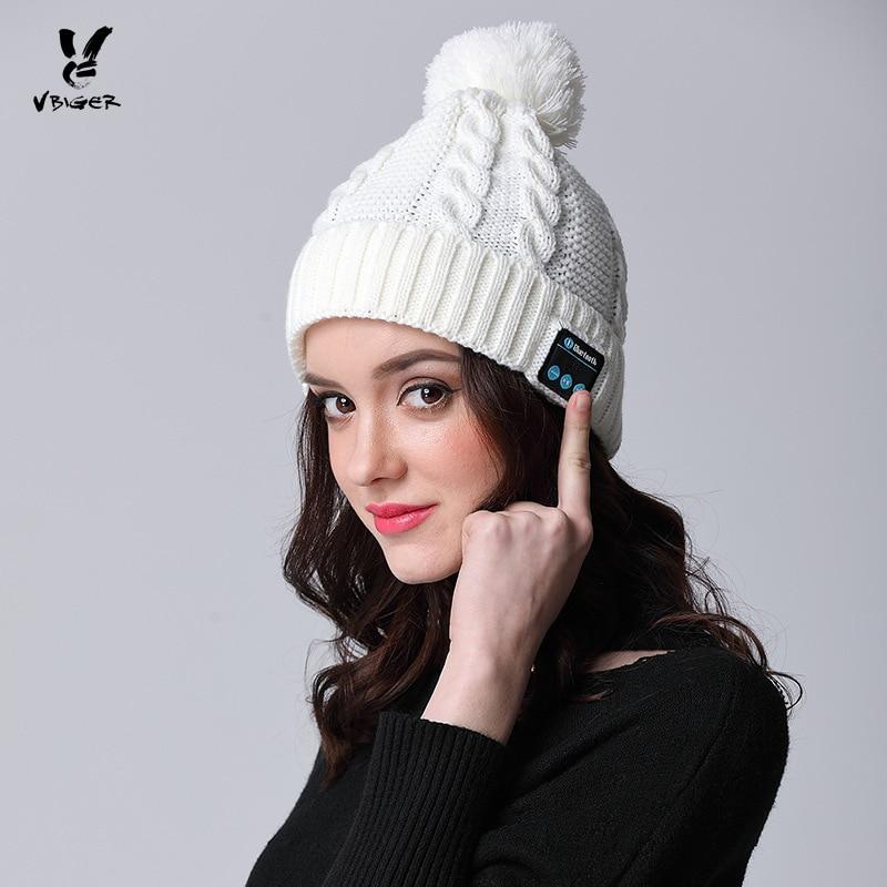 62652383f911e VBIGER Women Hat Wireless Bluetooth Headphone Binaural Smart Hat Skullies  Beanies Handmade Hat Winter Warm Cap