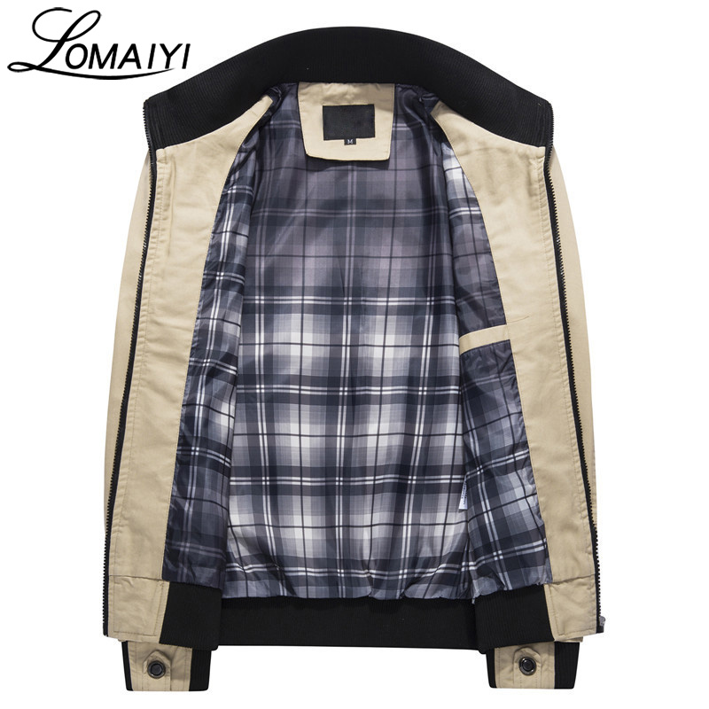 LOMAIYI Pure Cotton Bomber Jacket Men Slim Outerwear Coats Black Mens Autumn Jackets With Many Pockets Men's Windbreaker,BM056 1