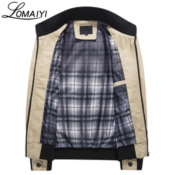 LOMAIYI Pure Cotton Bomber Jacket Men Slim Outerwear Coats Black Mens Autumn Jackets With Many Pockets Men's Windbreaker,BM056 1