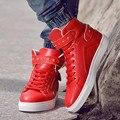 Tamaño grande 45 Zapatos Ocasionales Planos de Los Hombres de Marca de Alta Top Zapatos de los hombres Zapatos de Cuero Ocasionales de Moda Rojo Hombres Zapatos Hombre 2016