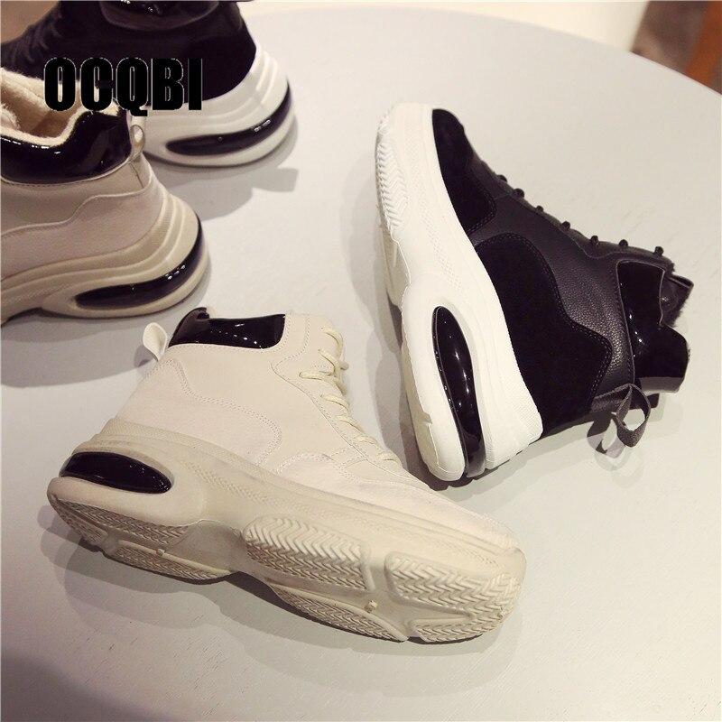 Nueva Mujeres De Alta Plataforma Superior Papá Zapatos White Brillo htsQrd