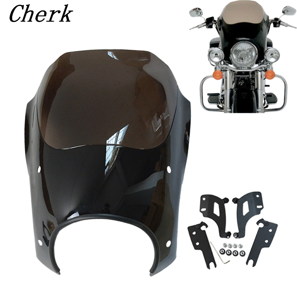 Smoke windshield Shades Bullet Headlight Fairing W/ Trigger Lock Mount Kit for Harley Touring Road King Custom Classic FLHRC areyourshop windshield bag saddle 3 pouch pocket fairing for harley touring bike 1996 2015 black motorcycle covers
