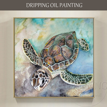 Artist Hand-painted Special Animal Turtles Oil Painting on Canvas Funny Sea Animal Turtles Swimming Oil Painting for Living Room фото