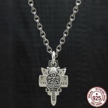 100% S925 sterling silver män halsband personlighet mode klassiska smycken punk stil dominerande cross sword stil 2018 nya