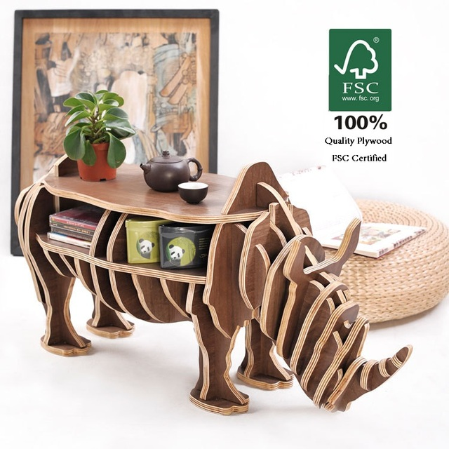 """High-end """"S"""" size Rhino table  Wood furniture! self-build puzzle furniture"""