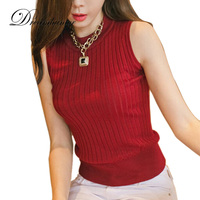 Newest Summer Style Woman Knitted Top Puched Striped Decoration Lady Nice Stretch Elastic Sleeveless High Collar