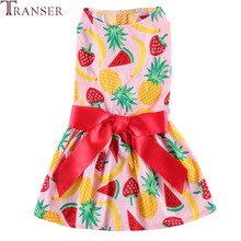 Spring Summer Dog Dress Fruit Print Pet Skirts Red Ribbon Bow Dog Clothes Pineapple Strawberry Banana Printing Pet Costume 90404(China)