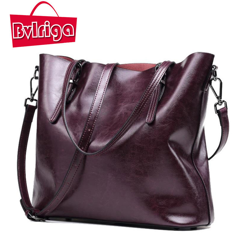 BVLRIGA Genuine leather bag women messenger bags big tote luxury handbags women