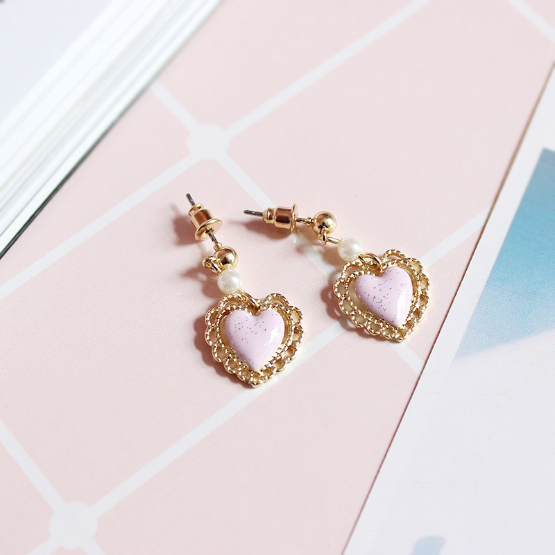 Free shipping ladies new jewelery Personality girl pearl heart-shaped simple earrings exclusive production tassel temperament