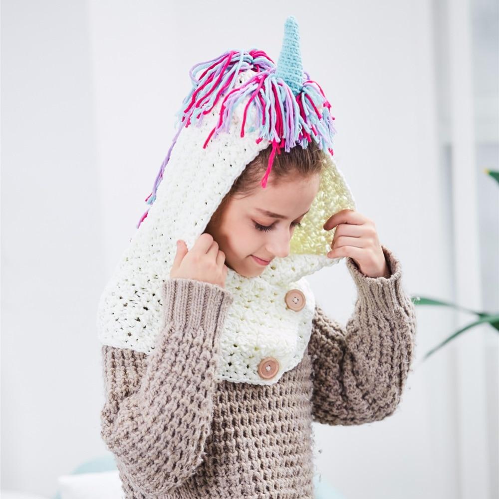 Niñas crochet unicornio invierno sombrero con la bufanda niños ...