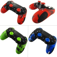 Soft Silicone Rubber Case Cover For Play Station Dualshock 4 PS4 DS4 Pro Slim Controller Skin + 2 Thumb Stick Grips Caps xberstar anti slip silicone skin cover case for dualshock 4 sony playstation4 ps4 ps 4 pro slim controller stick grip caps