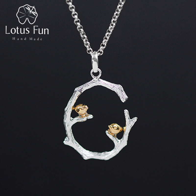 Lotus Fun Real 925 Sterling Silver Natural Original Handmade Fine Jewelry Bird on Branch Pendant without Necklace for WomenLotus Fun Real 925 Sterling Silver Natural Original Handmade Fine Jewelry Bird on Branch Pendant without Necklace for Women