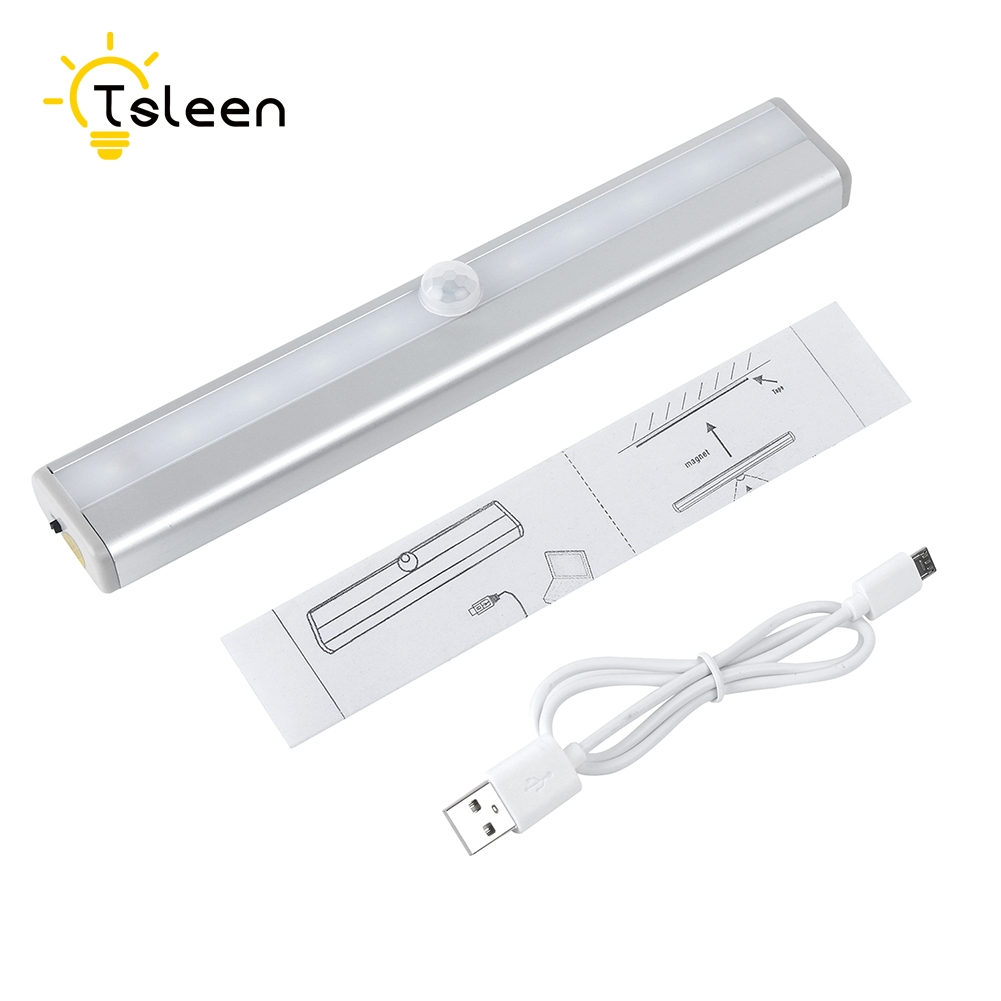TSLEEN Closet Lamp 10 LED Night Light Pir Motion Sensor Rechargeable Wireless Wall Light Home Lighting Under Kitchen Cabinets led pir body automatic motion sensor wall light sensor night light usb rechargeable induction lamp for closet bedrooms