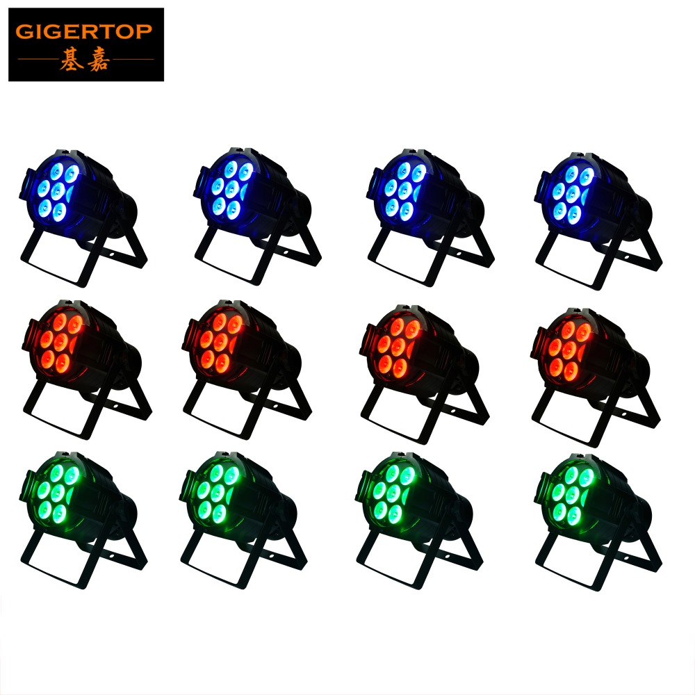 12pcs/lot Hot Sale 7X10W 4in1 RGBW Led Stage Light High Power LED Par Cans Strobe effect DMX512 DJ Disco Equipment TP-P50 8x lot hot rasha quad 7 10w rgba rgbw 4in1 dmx512 led flat par light non wireless led par can for stage dj club party