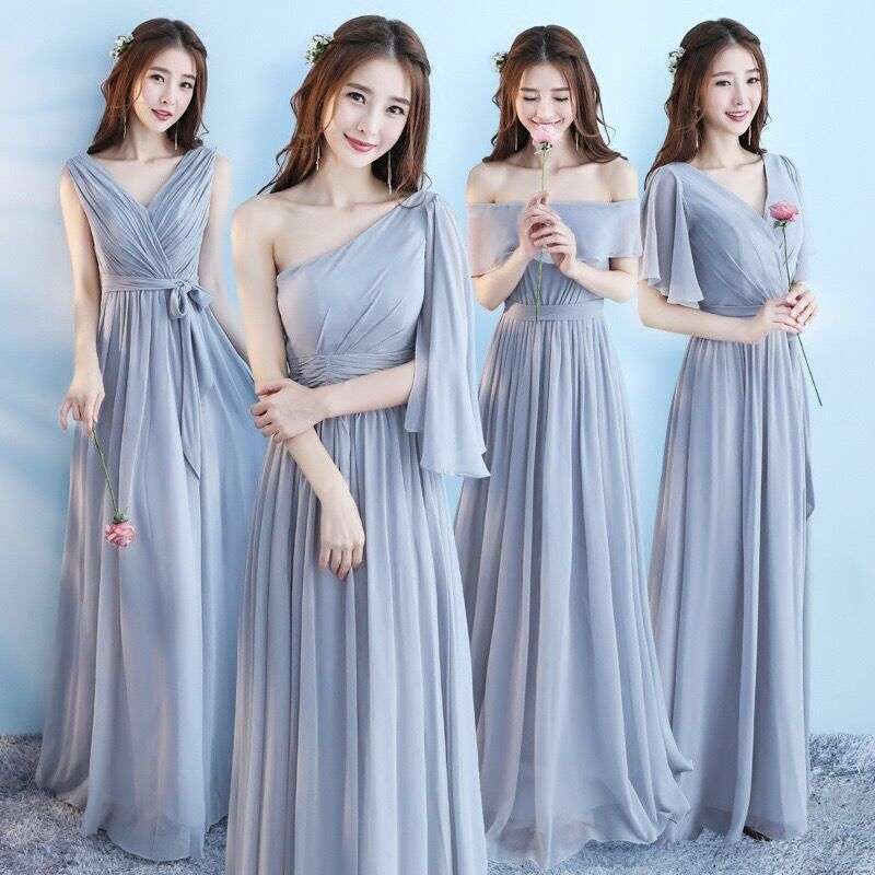 Vestido Longo Pink Bridesmaid Dresses 2020 New Elegant A Line V Neck Grey Long Wedding Party Gown Robe De Demoiselle D'honneur