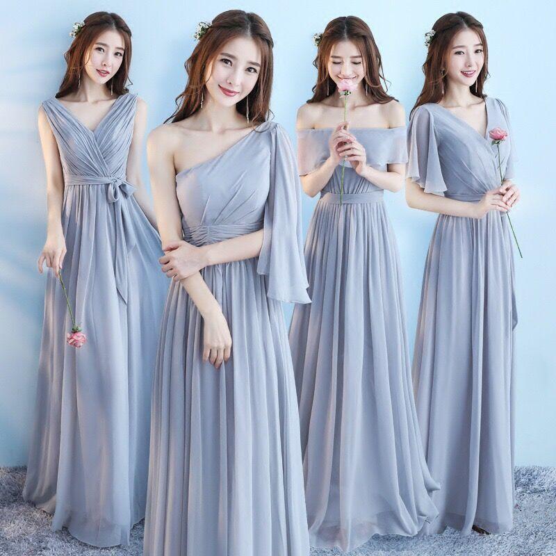 Vestido Longo Pink Bridesmaid Dresses 2020 New Elegant A Line V Neck Grey Long Wedding Party Gown Robe De Demoiselle D'honneur