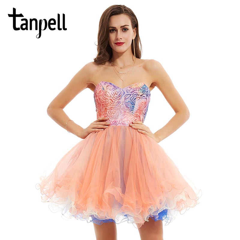Tanpell ball gown   cocktail     dress   sweetheat pink knee length sequined printing sleeveless   dress   party short   cocktail     dresses