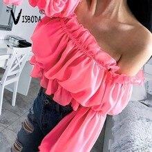 цены на Women Off Shoulder Loose Blouse Sexy Pink Long Sleeve Shirt Fashion Summer Female Green Ruffles Cropped Tops And Blouse Femme  в интернет-магазинах