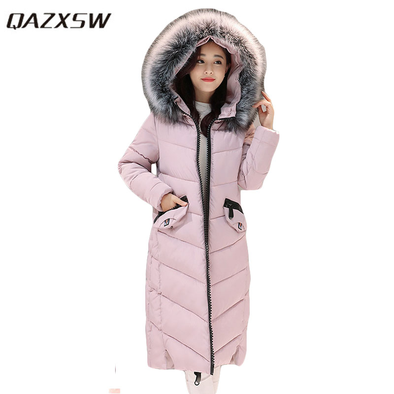 QAZXSW New Winter Collection Woman Winter Cotton Jacket For Women Warm Outwear Fur Collar Hooded Unicorn Thick Long Parkas HB048 qazxsw new korean women cotton jackets hooded long parkas big fur collar casual plus size winter jacket super warm outwear hb375
