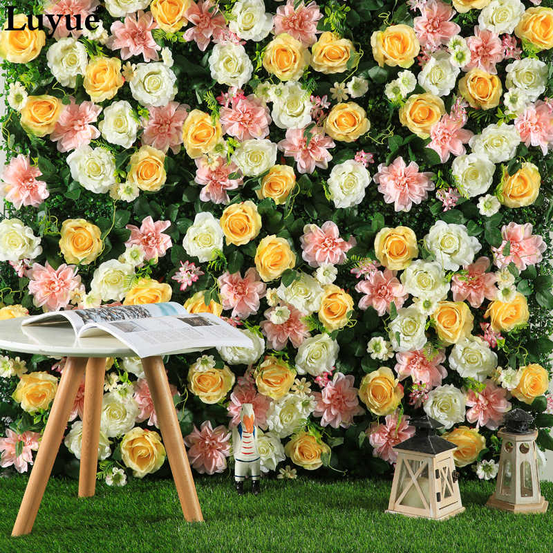 Luyue Size 40CMx60CM Silk Rose Flower Artificial flower For Wedding Decoration Flowers Wall  Wedding Backdrop Decor