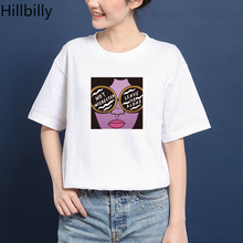 Hillbilly CMK131 Not Interested Leave Me Alone Cotton T Shirts Women Cool 80s 90s Harajuku Casual T-shirts TShirts Tees & Tops