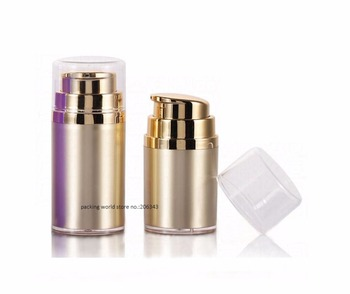 30ml  gold acrylic airless pump bottle lotion/emulsion/whitening essence liquid foundation skin care cosmetic pacing