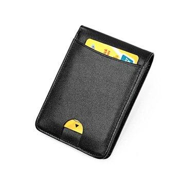 Kulit Asli Pemegang Kartu Kredit Pemegang Kartu RFID Vintage Dompet Kulit Sapi Antitheft RFID Blocking Wallet Pass Port Pemegang
