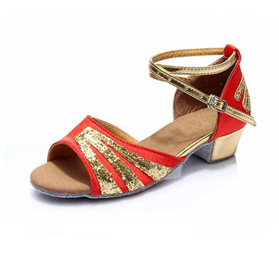 Promotion Price Red Satin Latin Dance Shoes Girls Woman Salsa Ballroom Dancing Shoes Zapatos De Baile Latino Mujer Free Shipping