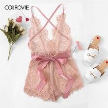 COLROVIE Pink Eyelash Lace Criss Cross Ribbon Romper Teddy Bodysuit Lingerie Women 2019 Purple Pajamas Sleepwear