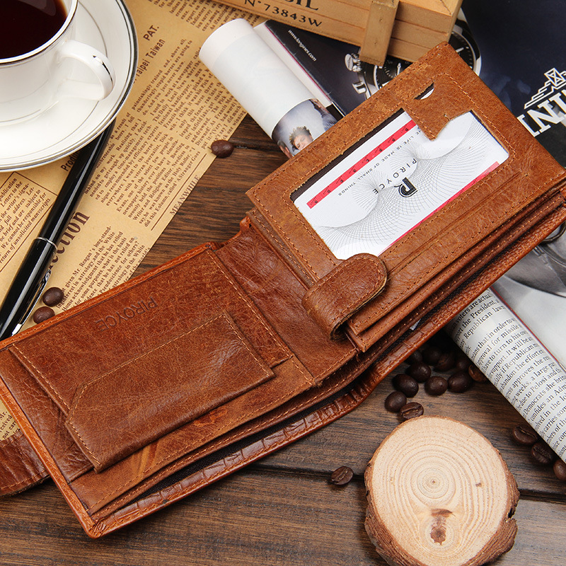 Mens Wallet split Leather Short Section Crocodile Pattern Wallet Purse For Men Use Vintage Purses Wallets Men Walet