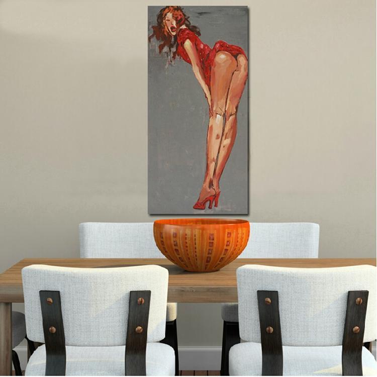 972e91141 امرأة جميلة مثير الساق 100% اليدوية قماش النفط اللوحة جدار الفن الحديث  خلاصة الشكل صورة لغرفة النوم ديكور no إطار