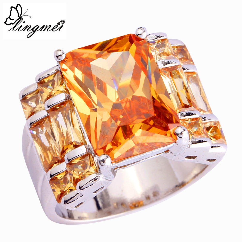 lingmei Wholesale Noble Jewelry Fashion Morganite Pink CZ Garnet Silver Color Ring Size 7 8 9 10 For Women Men Free Shipping