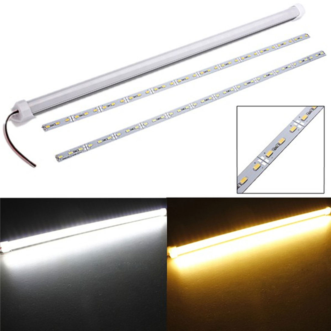 11W 50cm Waterproof Hard Rigid Light Strip Cabinet LED Bar Lamp Strip 36 LED 5630 SMD Pure White/Warm White Light with Cover