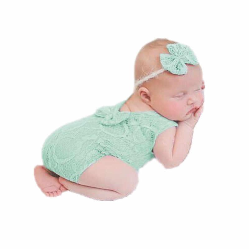 ทารกแรกเกิดการถ่ายภาพ Props ทารกลูกไม้ Romper Headband การถ่ายภาพ Props