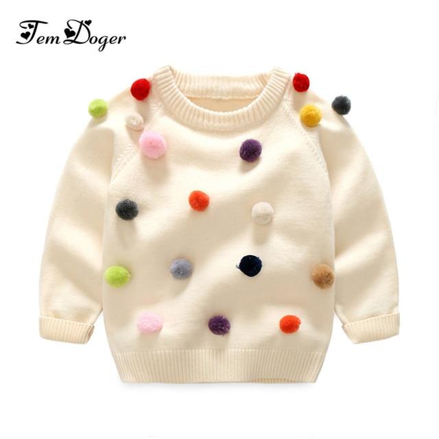 e4ce89711773 Tem Doger 2017 winter kids sweater balls design baby knitted ...