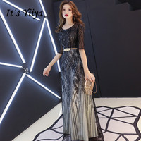 595ec8c366b168 It S YiiYa Evening Dress Mysterious Shining Black Sequins Long Formal Gown  Half Sleeve Back Zipper